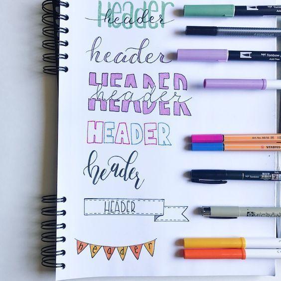 Playful Bullet Journal Header Ideas