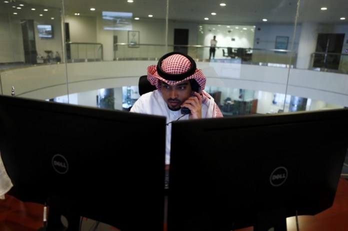 © Reuters. Saudi Arabia stocks lower at close of trade; Tadawul All Share down 1.36%
