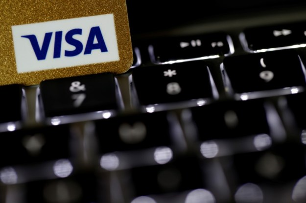 © Reuters. Visa was the Dow's biggest gainer midday.