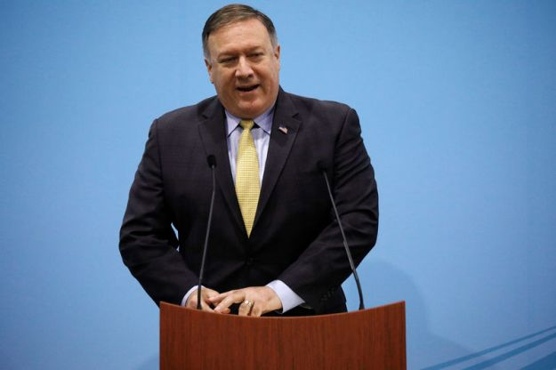 © Reuters. U.S. Secretary of State Mike Pompeo speaks during a news conference at the ASEAN Foreign Ministers' Meeting in Singapore
