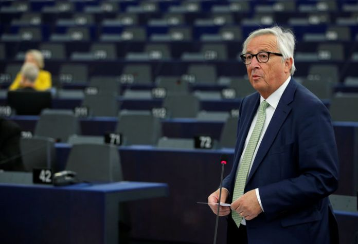 © Reuters. European Commission President Juncker addresses the European Parliament in Strasbourg