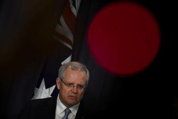 © Reuters. Australian Prime Minister Scott Morrison speaks during a news conference at Parliament House in Canberra