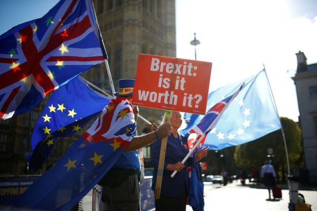 © Reuters. Anti-brexit protestors wave flags outside the Houses of Parliament in London