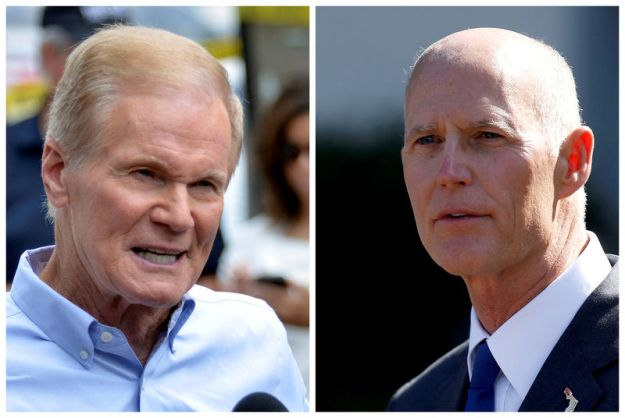 © Reuters. FILE PHOTO: Combination photo of U.S. Senator Bill Nelson and Florida Governor Rick Scott