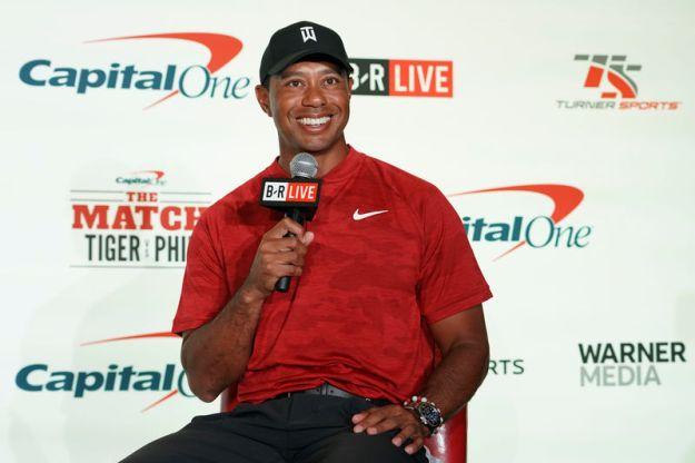 © Reuters. FILE PHOTO: PGA: The Match: Tiger vs. Phil - Press Conference