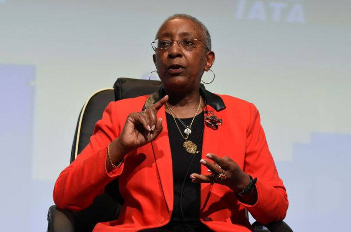 © Reuters. FILE PHOTO: Angela Gittens, Director General of Airports Council International, during a panel discussion on climate change goals