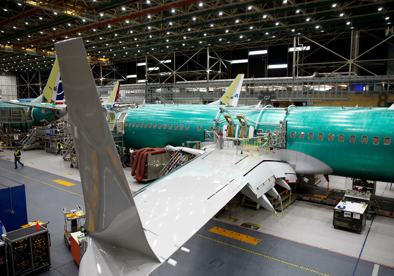 © Reuters. FILE PHOTO: A 737 Max aircraft is pictured at the Boeing factory in Renton