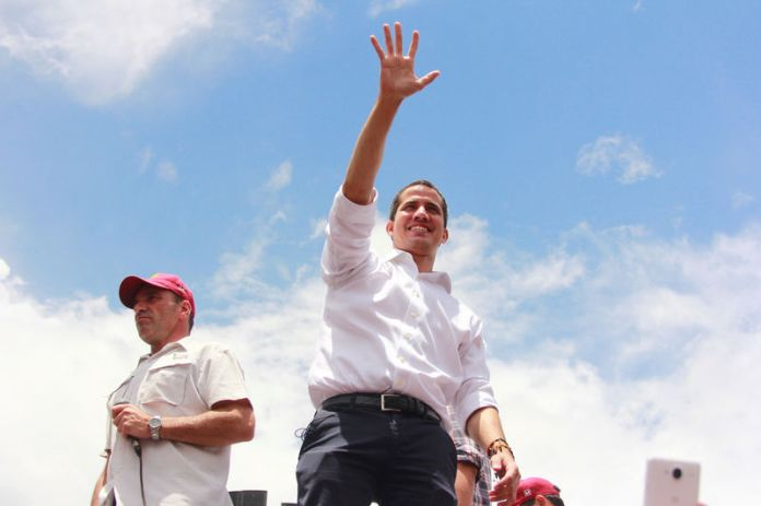 © -. Venezuelan opposition leader Juan Guaido, who many nations have recognised as the country's rightful interim ruler, attends rally in Barquisimeto