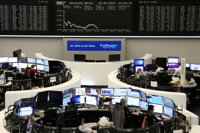 © -. The German share price index DAX graph at the stock exchange in Frankfurt