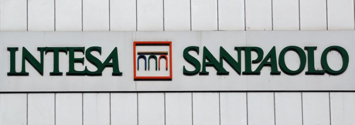 © -. FILE PHOTO: Intesa San Paolo bank logo is seen at the headquater in Turin