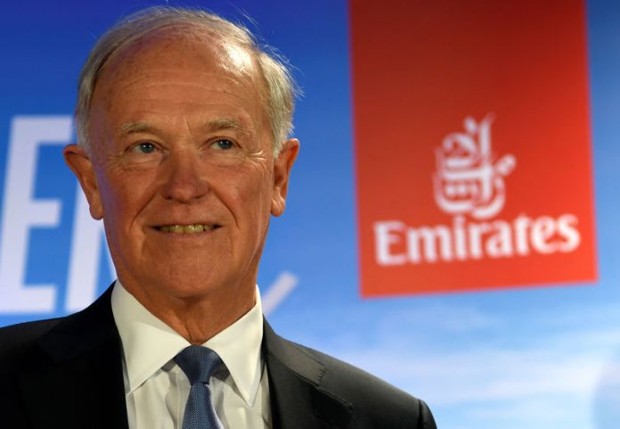 © -. FILE PHOTO: Tim Clark, President of Emirates Airlines, delivers his speech during a presentation of Emirates Boeing 777 at the airport in Hamburg