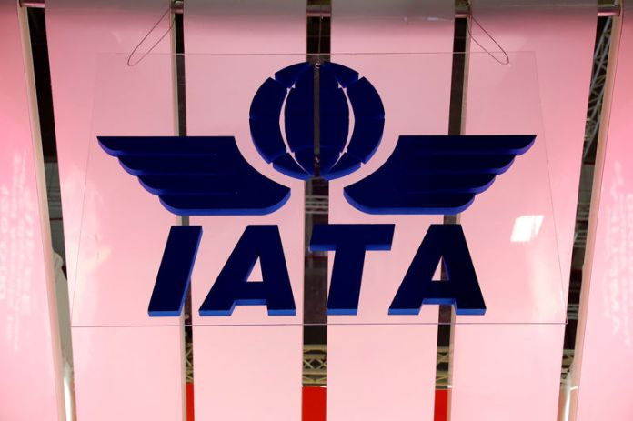 © -. FILE PHOTO: IATA logo is seen at the International Tourism Trade Fair ITB in Berlin