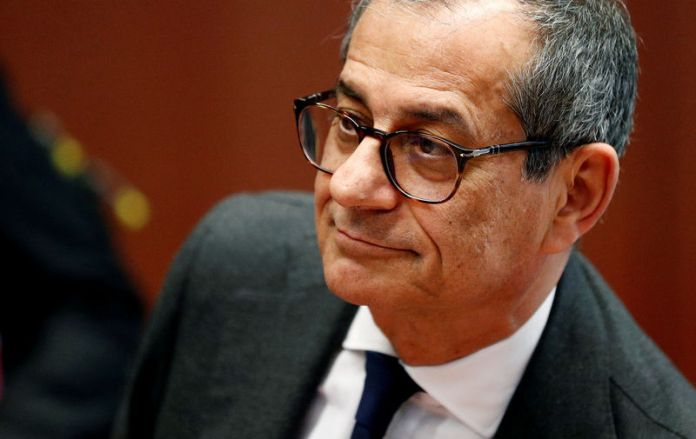 © -. FILE PHOTO: Italy's Economy Minister Tria attends a eurozone finance ministers meeting in Brussels