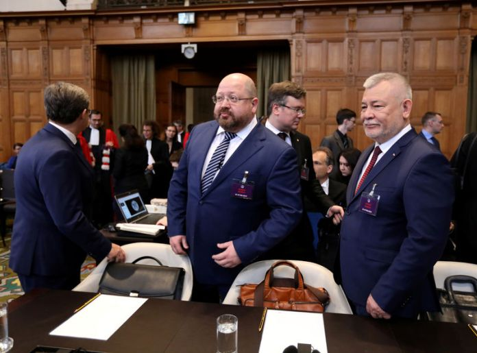© -. Grigory Lukiyantsev, Ministry of Foreign Affairs of Russia for human rights, is seen during a hearing in a case launched by Ukraine which alleges Moscow is funding pro-Russian separatist groups in Ukraine, in The Hague
