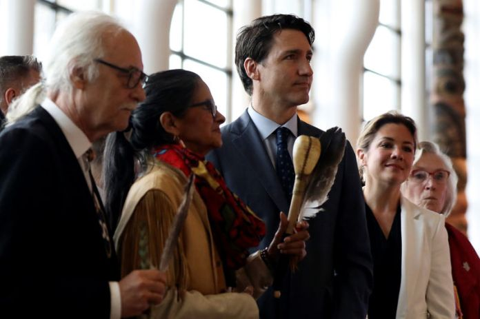 © -. Canada's PM Trudeau attends the closing ceremony of the National Inquiry into Missing and Murdered Indigenous Women and Girls in Gatineau