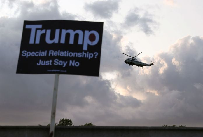 © -. U.S. President Donald Trump visits Britain