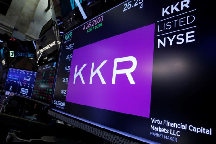 © -. Trading information for KKR & Co is displayed on a screen on the floor of the NYSE in New York