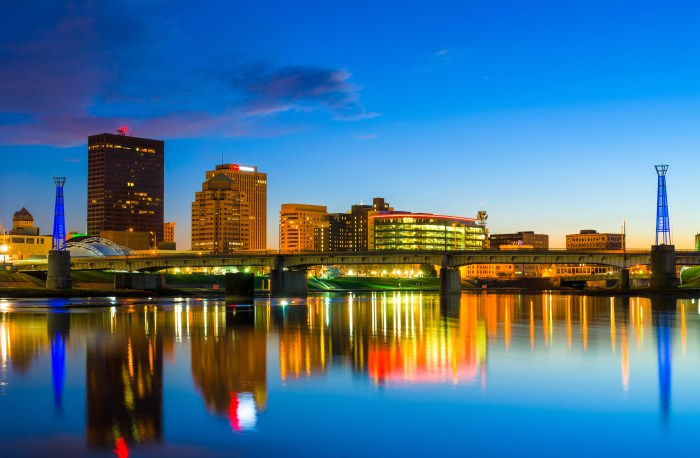 A photograph of the skyline of Dayton Ohio at dusk.