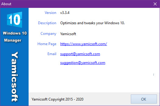 Yamicsoft Windows 10 Manager 3.3.4