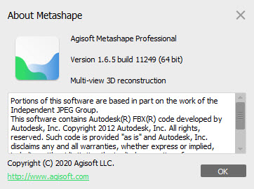 Agisoft Metashape Professional 1.6.5 Build 11249
