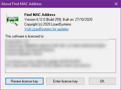 LizardSystems Find MAC Address 6.12.0 Build 259