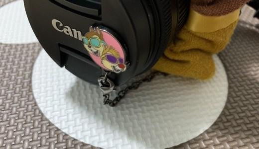 カメラのレンズキャップストラップ、チャラいチプデ(ディズニー)がオシャンティ♪