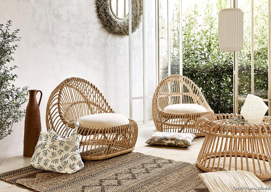 meuble en rotin et decoration en rotin