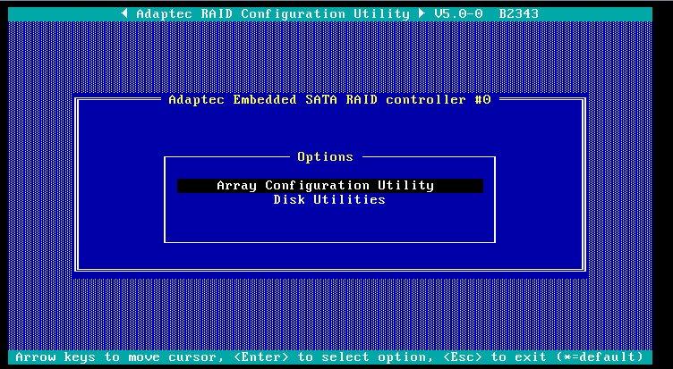 adaptec raid configuration utility