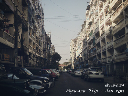 One of the streets in Yangon - Myanmar. Taken with HTC Sensation.
