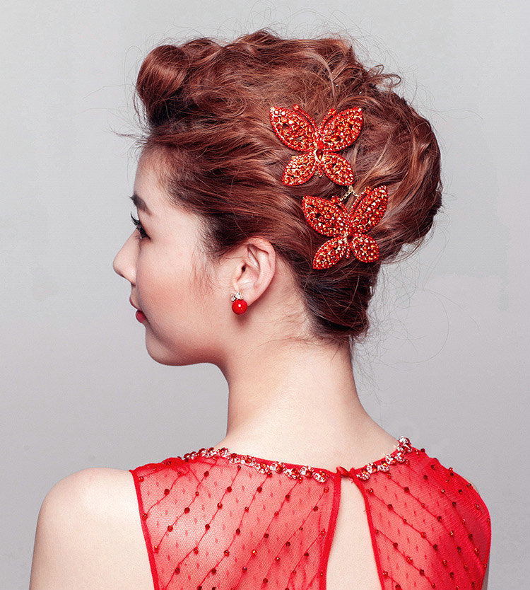Buy Wholesale Unique Butterfly Red Crystal Bridal Hair