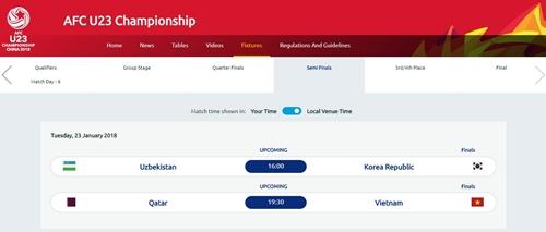 Ảnh chụp lịch thi đấu vòng chung kết U23 châu Á trên trang web của AFC.