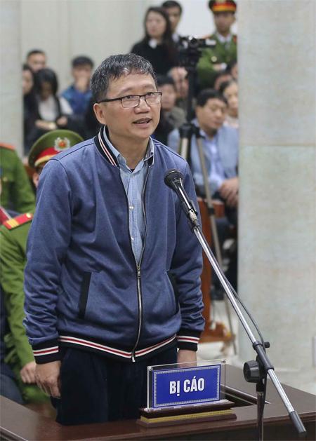 Ông Trịnh Xuân Thanh tại tòa ngày 8/1. Ảnh: TTXVN.