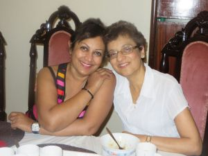 Munira and Gulnar, cancer survivors, re-uniting after 4 years