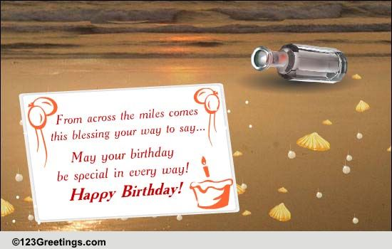 Bday Message In A Bottle Free Birthday Blessings ECards 123 Greetings