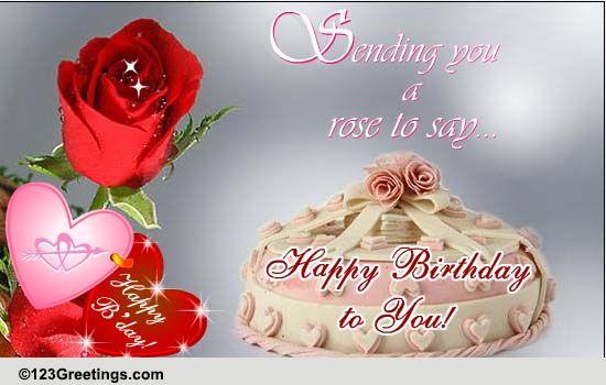 Single Rose Says Happy Birthday Free Flowers ECards Greeting Cards 123 Greetings