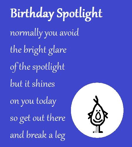 Birthday Spotlight A Funny Poem Free Funny Birthday Wishes ECards 123 Greetings