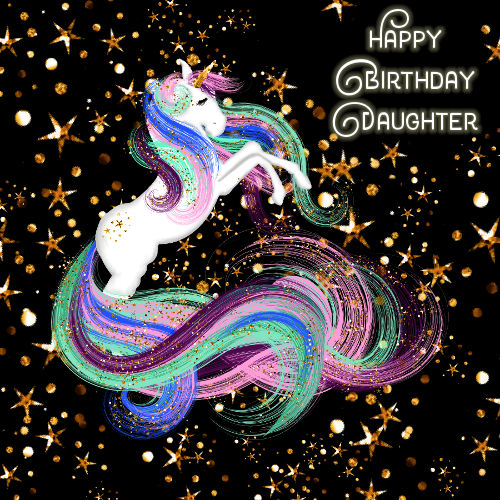 Daughter Birthday Sparkling Unicorn Free For Son Amp Daughter ECards 123 Greetings