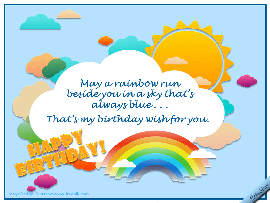 Rainbows And Blue Skies Free Birthday Wishes ECards Greeting Cards 123 Greetings