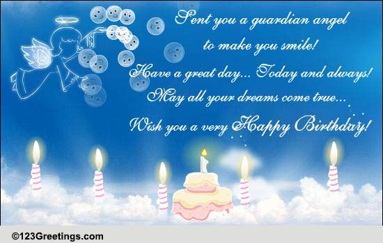 Sent You A Guardian Angel Free Birthday Wishes ECards Greeting Cards 123 Greetings