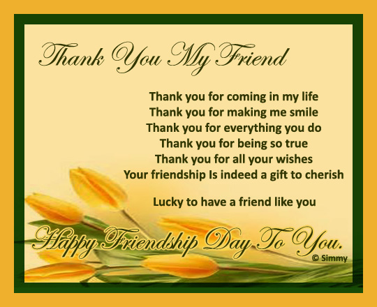Thank You My Friend For Everything Free Thank You ECards