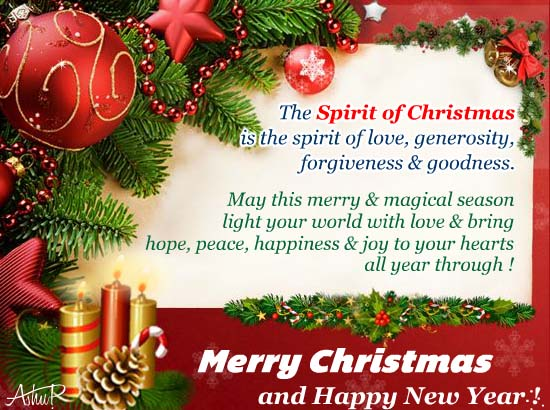 True Spirit Of Christmas For You Free Spirit Of Christmas ECards 123 Greetings