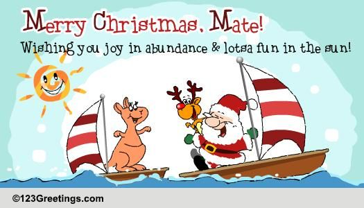 Merry Christmas Mate Free Summer ECards Greeting Cards