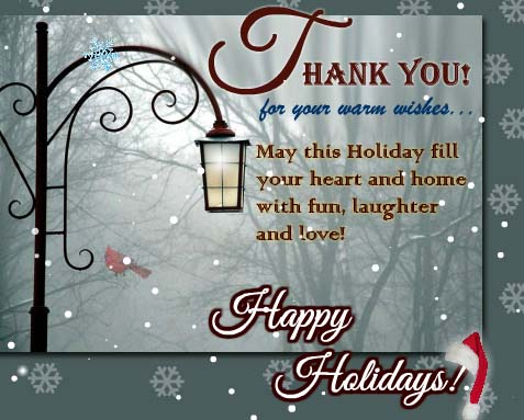 Thank You For Your Warm Wishes Free Holiday Thank You ECards 123 Greetings