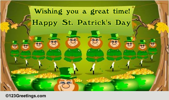 Leprechaun Dance Free Happy St Patricks Day ECards