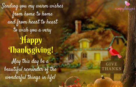 Wishes From Across The Miles Free Happy Thanksgiving ECards 123 Greetings