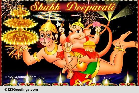 Lord Ganesha Amp Hanuman Diwali Wishes Free Happy Diwali Wishes ECards 123 Greetings