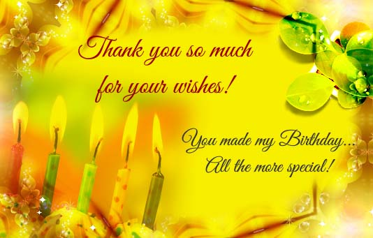 Thank You Very Much For Your Wishes Free Birthday Thank You ECards 123 Greetings