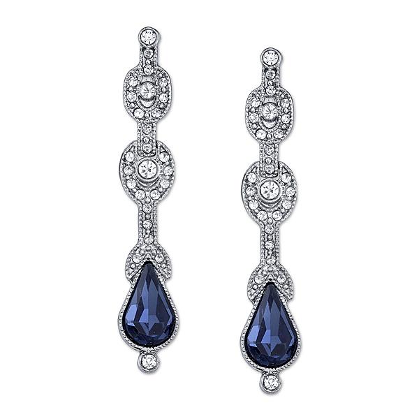 Downton Abbey® Boxed Silver-Tone Blue Crystal Drop Earrings