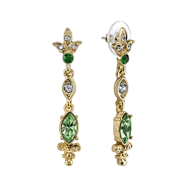 Downton Abbey® Boxed Gold-Tone Emerald Crystal Drop Earrings