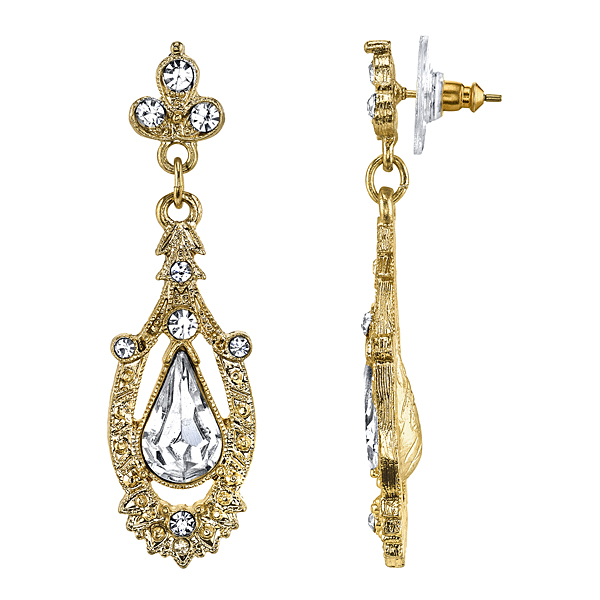 Downton Abbey® Boxed Gold-Tone Crystal Accent Pave Drop Earrings